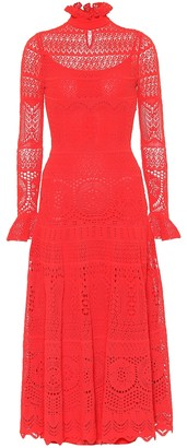 Alexander McQueen Cotton-blend lace midi dress