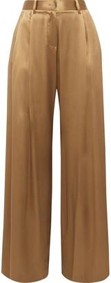 Nili Lotan Brixton Pleated Silk-satin Wide-leg Pants