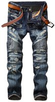 Enrica Men's Biker Moto Skinny Ripped Distressed Destroyed Denim Jeans