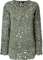 Roberto Cavalli perforated suede blouse