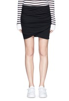 James Perse Shirred cotton jersey wrap mini skirt