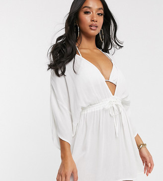 Asos DESIGN PETITE crinkle beach cover up with channel waist & drape sleeves in white