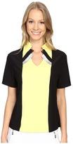 Jamie Sadock Shirley Short Sleeve Top with Kashumi Print at Neck