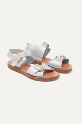 Ancient Greek Sandals Kids - Little Irini Iridescent Leather Sandals - Silver