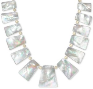 "Macy's Mother of Pearl (10-32mm) 18"" Statement Necklace in 18k Gold over Sterling Silver"
