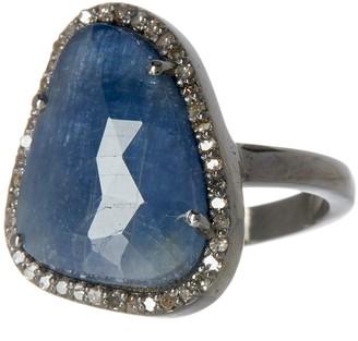 ADORNIA Blue Sapphire & Diamond Rose Cut Halo Ring