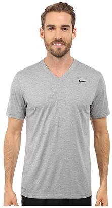 Nike Legend 2.0 Short Sleeve V-Neck Tee (Dark Grey Heather/Black/Black) Men's T Shirt