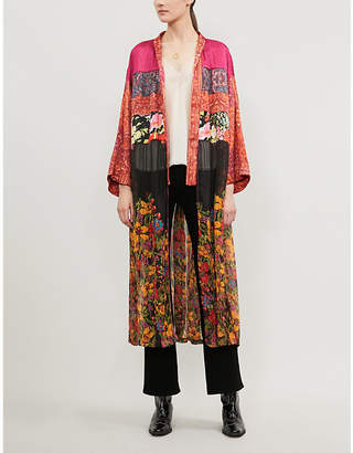 Free People Young Love floral-print satin and chiffon kimono