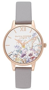 Olivia Burton Enchanted Garden Gray Lilac Leather Strap Watch, 30mm