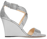 Jimmy Choo Fearne Glittered Leather Wedge Sandals - Silver