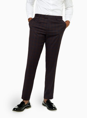 Topman Navy and Burgundy Check Slim Fit Suit Trousers