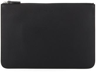 Giorgio Armani Men's Tumbled Leather Document Holder, Black