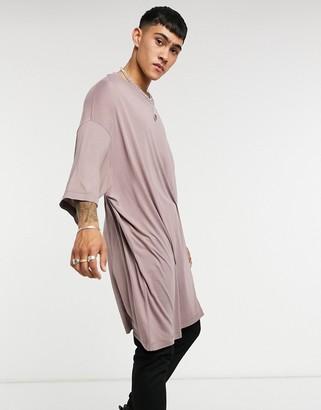 ASOS DESIGN extreme oversized super long line viscose t-shirt in washed purple