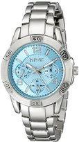 August Steiner Women's AS8143SSBU Silver Quartz Watch with Light Blue Dial and Silver Gold Bracelet