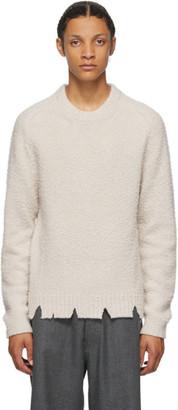 Maison Margiela Off-White Wool Oversized Destroyed Sweater