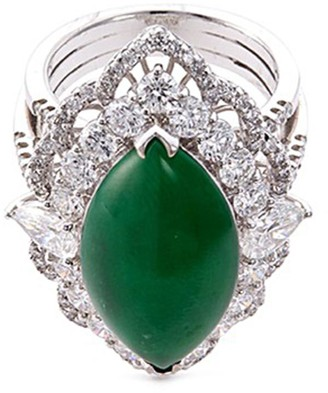 Lc Collection Jade Diamond jade 18k white gold marquise ring