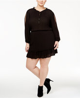 Jessica Simpson Trendy Plus Size Beaded Peasant Dress