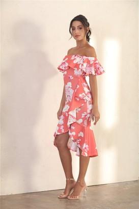 Miss Floral Summer Frill Bardot Midi Dress In Orange Floral