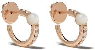 Pomellato 18kt rose gold Mama non Mama mother-of-pearl and diamond hoops