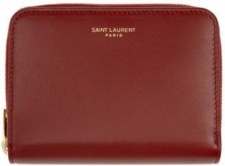 Saint Laurent Red Compact Zip Wallet