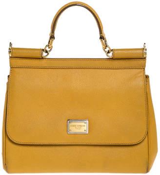 Dolce & Gabbana Mustard Leather Medium Miss Sicily Top Handle Bag