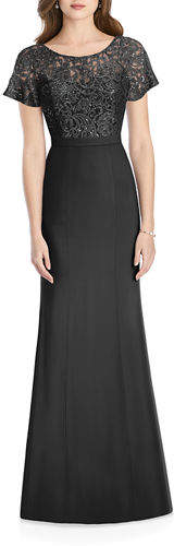 Jenny Packham Bridesmaids Sweetheart-Illusion Sequin Lace-Bodice Short-Sleeve Crepe Gown
