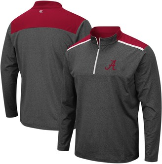 Colosseum Men's Heathered Charcoal Alabama Crimson Tide Snowball Windshirt Quarter-Zip Pullover Jacket