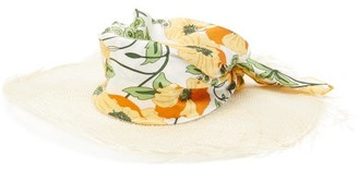 Avenue The Label - Luna Floral-satin And Straw Hat - Womens - Multi