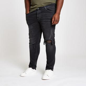 River Island Big and Tall black ripped Sid skinny jeans