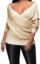 Eiffel Store Eiffel Women's Wrap Front V Neck Ribbed Cable Pullover Sweater Top Tunic