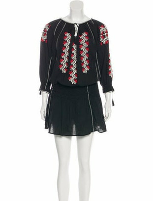 Ulla Johnson Embroidered Mini Dress Black