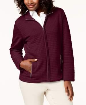 Karen Scott Petite Quilted Fleece Jacket, Created for Macy's