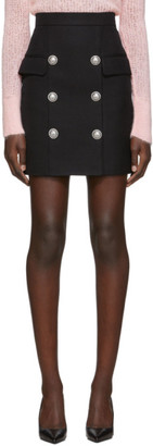 Balmain Black High-Waisted Button Miniskirt