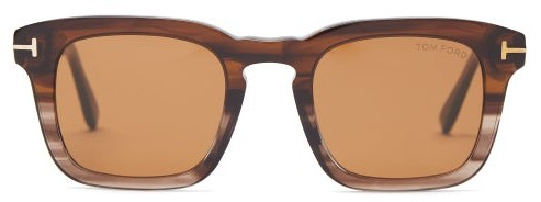 Tom Ford Square Horn-effect Acetate Sunglasses - Mens - Brown