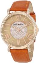 Anne Klein Women's AK-1068RGHY Calf Skin Quartz Watch with Dial