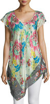 Johnny Was Tropical Flower Short-Sleeve Tunic, Plus Size