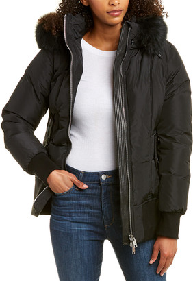 Nicole Benisti Series By Killy Leather-Trim Wool-Blend Down Coat