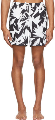 Bather Black and White Abstract Geometric Pattern Swim Shorts