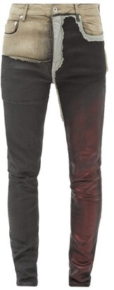 Rick Owens Tyrone Patchwork Coated Skinny-leg Jeans - Multi