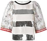 Aviu sequinned metallic (Grey) T-shirt - women - Silk/Cotton/Polyamide/Polyester - 42