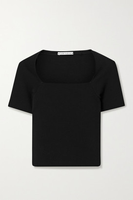 Alice + Olivia Alice Olivia - Brynn Cropped Stretch-knit Top - Black