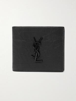 Saint Laurent Logo-Appliqued Croc-Effect Leather Billfold Wallet