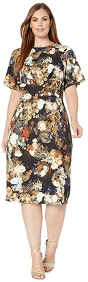 Adrianna Papell Plus Size Golden Girl A-Line Draped Dress (Gold Multi) Women's Dress