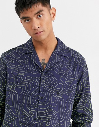 Entente long sleeve shirt in navy with neon print