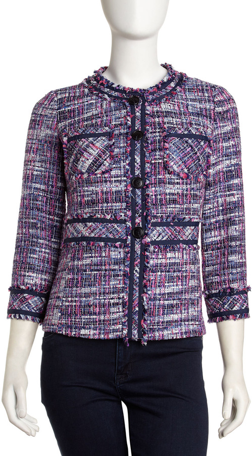 Lafayette 148 New York Three-Quarter-Sleeve Tweed Jacket