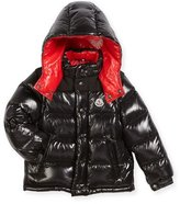 Moncler Andersen Quilted Coat w/ Contrast Lining, Size 8-14
