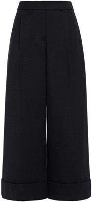 Simone Rocha Cropped Pleated Twill Wide-leg Pants