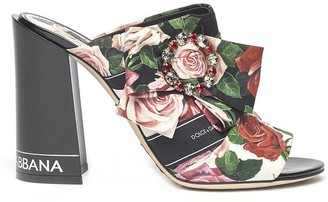 Dolce & Gabbana Floral Bow Embellished Mules