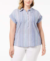 Style&Co. Style & Co Plus Size Cotton Marcella Striped Top Shirt, Created for Macy's