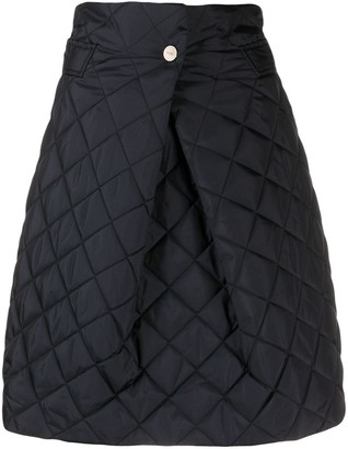 Ganni quilted A-line skirt